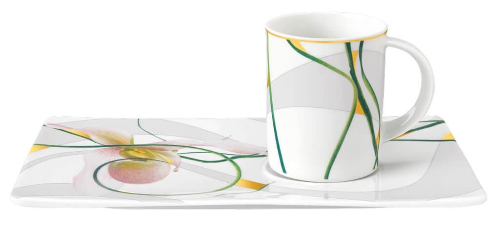 Tettau Atelier Porzellan Tablett-Set Wild Orchid